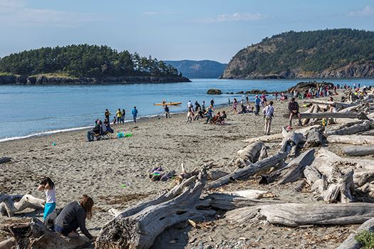 Deception Pass visitors on beach