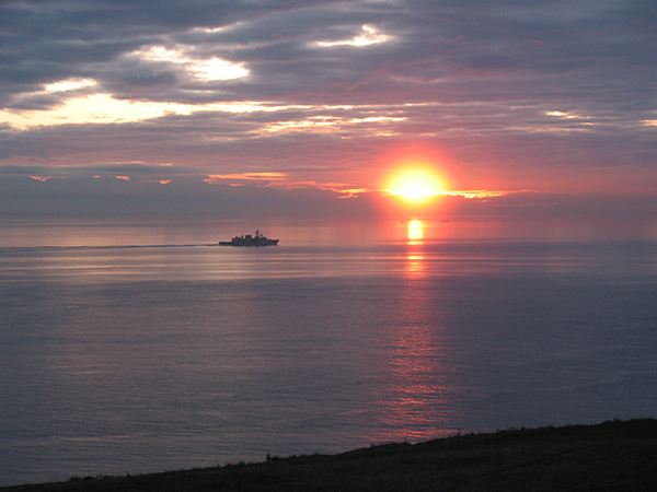 Fort Ebey sunset with boat