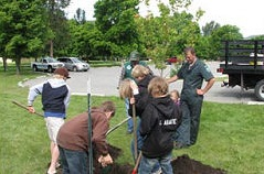 Volunteers at Pearrygin Lake State Park plant trees with shovels