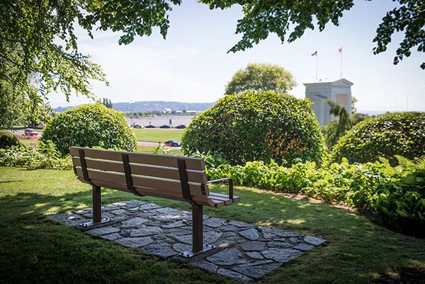 Peace Arch bench with a view