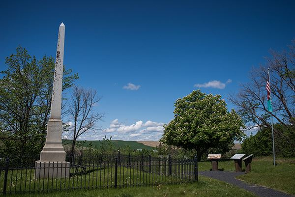 Steptoe Battlefield monument with fence