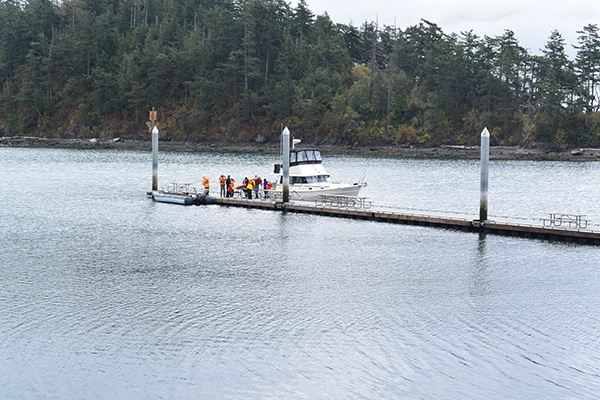 Sucia Island boaters on dock
