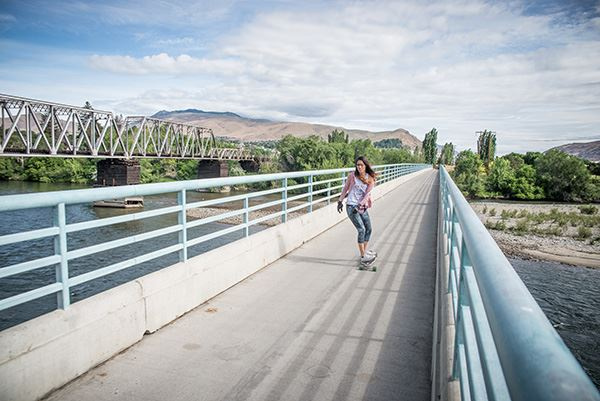 Wenatchee Confluence skateboarding on bridge