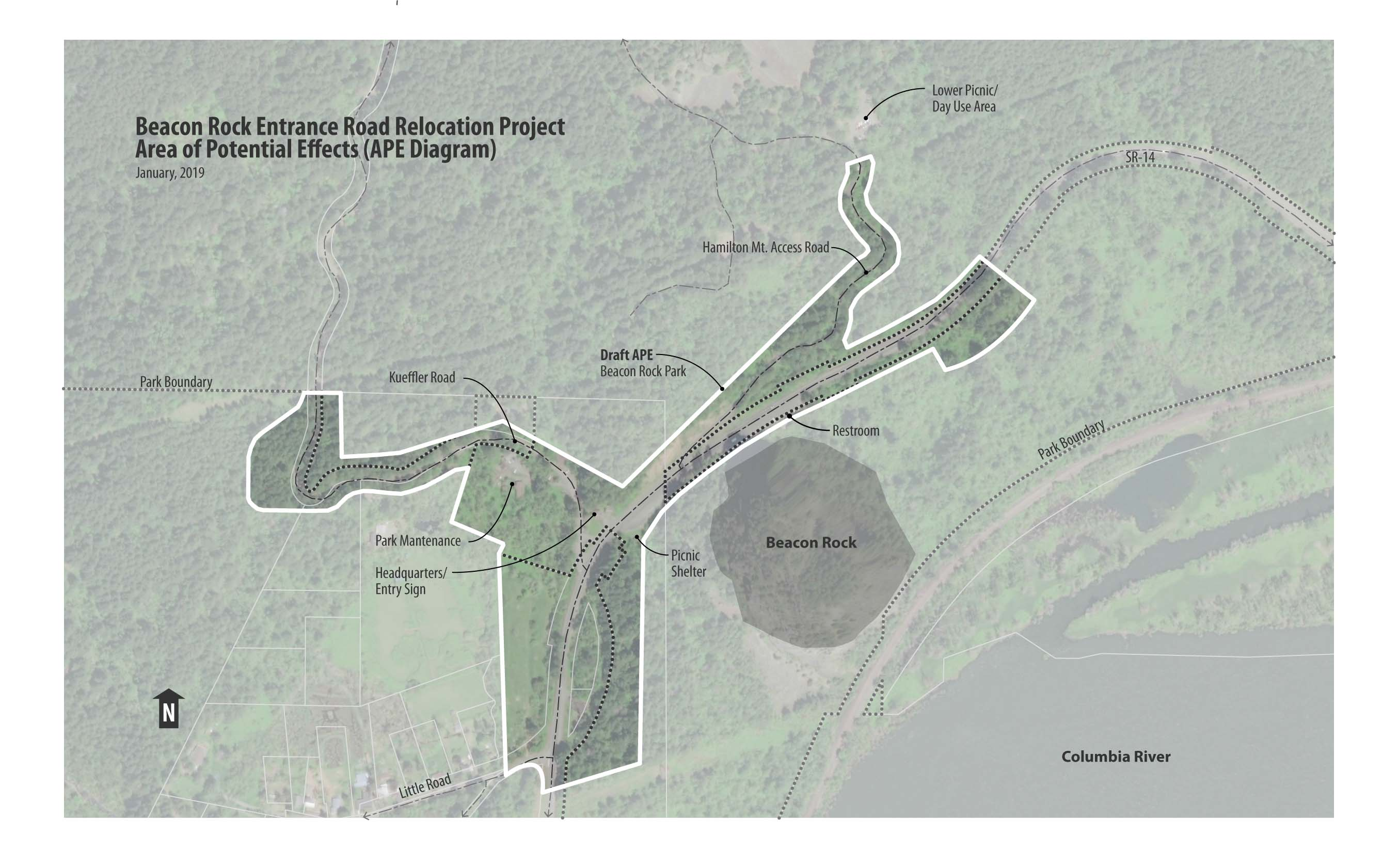 Map showing Entrance Road Relocation Area Potential Effects