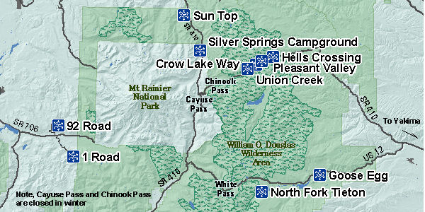 Non-motorized Sno-Parks in the Greenwater / Yakima area