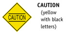 Caution (yellow with black letters)