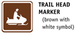 Snowmobile Trail Head Marker (brown with white symbol)