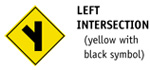 Left Intersection (yellow with black symbol)