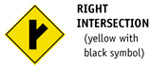Right Intersection (yellow with black symbol)