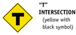 T Intersection (yellow with black symbol)