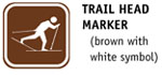 Cross-Country Ski Trail Head Marker (brown with white symbol)