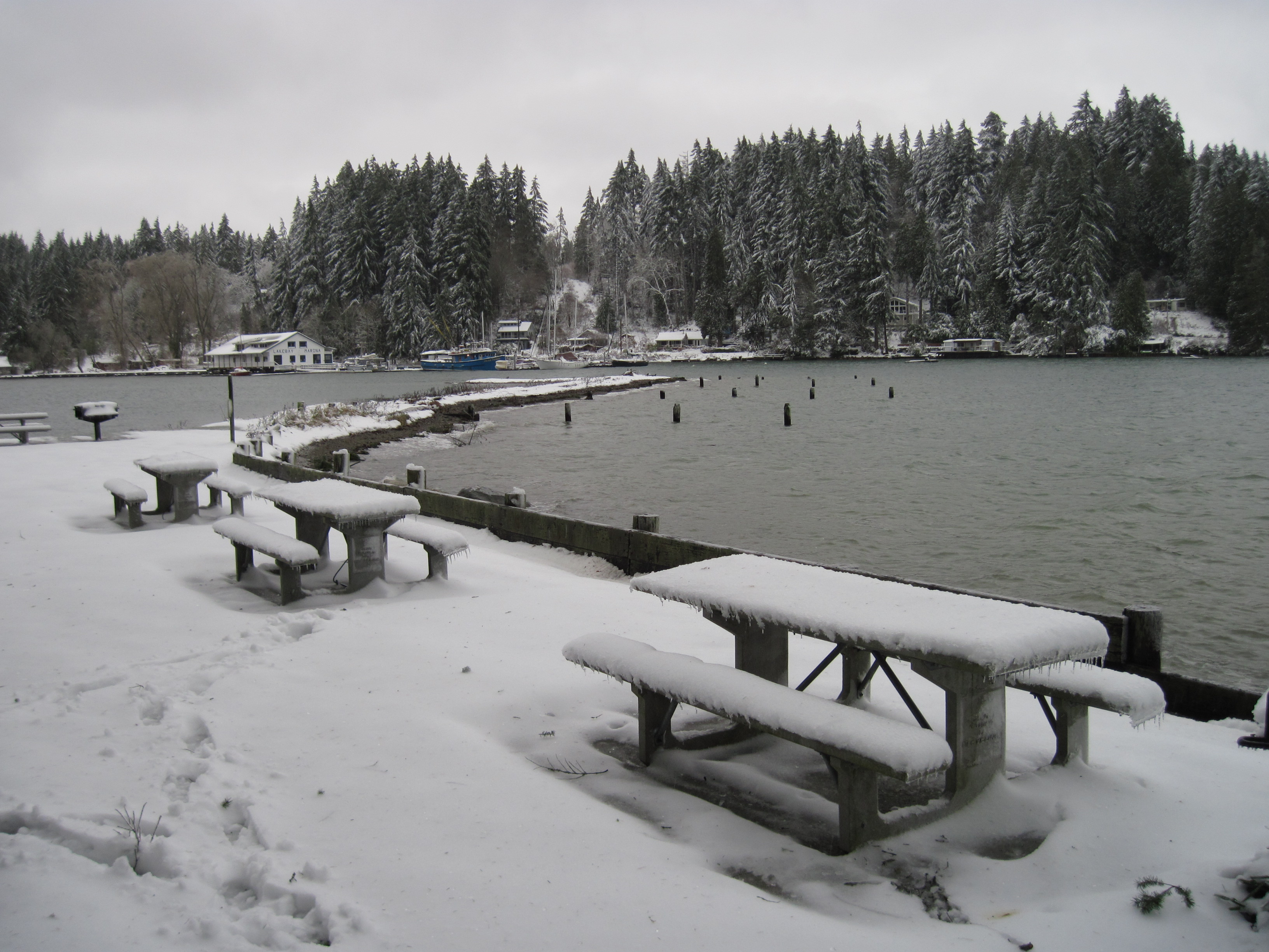 Penrose Point picnic tables in winter