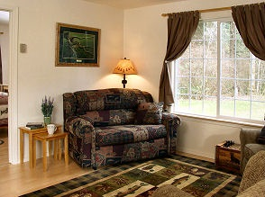 Cottage living room with hardwood floors and couch in front of window looking out at the forest