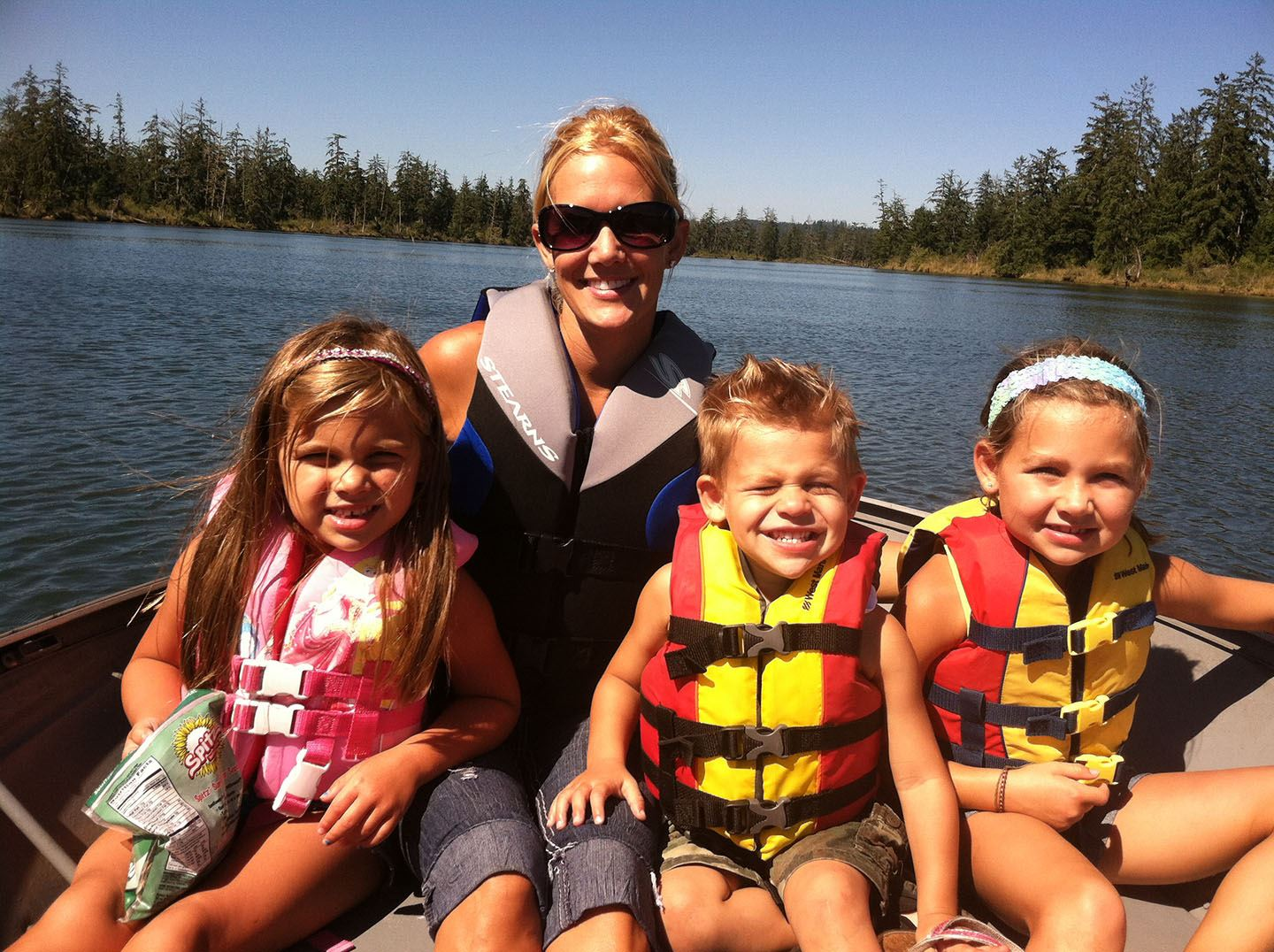 Adult and children wearing life jackets