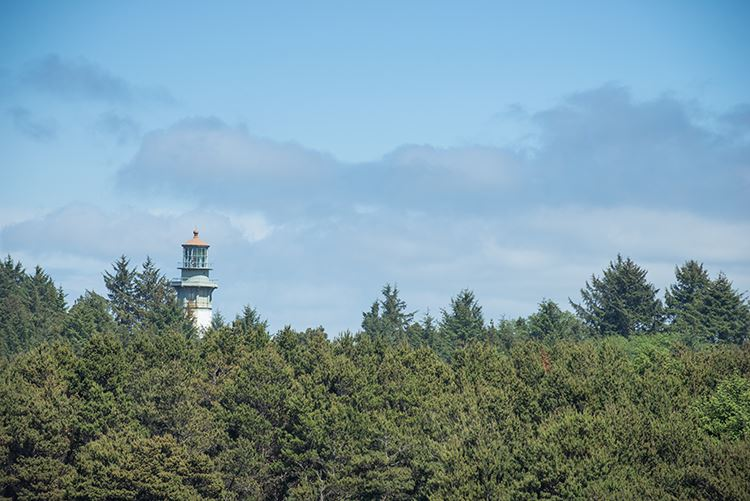 Westport Light lighthouse from trail