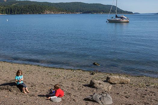Obstruction Pass-boat in water, kids on beach
