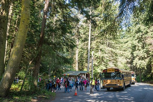 Camano Island school group with bus