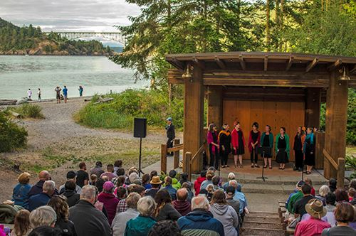 Visitors enjoy an evening of entertainment at Deception Pass State Parks' North Beach amphitheate