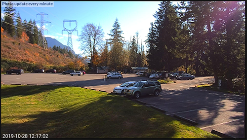 Web cam photo of parking lot at Wallace Falls State Park