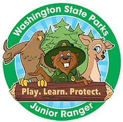 Graphic of Junior Ranger Program sticker with mascots and motto: Play. Learn. Protect.